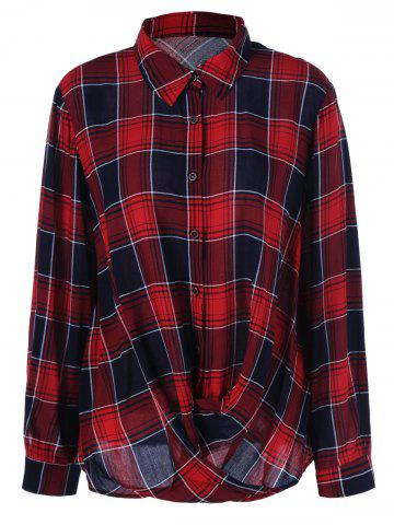 Online Plus Size Twist Front Plaid Shirt CHECKED XL