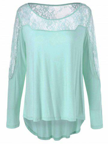 Fashion Lace Patchwork High Low Tee CLOVER XL
