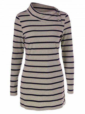 Fancy Striped Elbow Patch T-Shirt With Button Detail STRIPE M