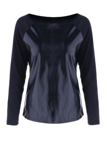 New Faux Leather Trim T-Shirt