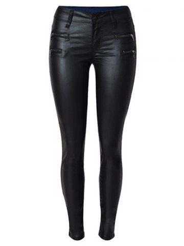 Unique Zippers Faux Leather Ponte Pants