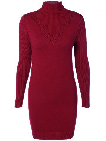 Outfits High Neck Ribbed Bodycon Sweater Dress WINE RED ONE SIZE
