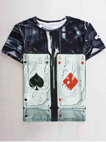 Shop Funny 3D Playing Card Print Round Neck Short Sleeves T-Shirt For Men