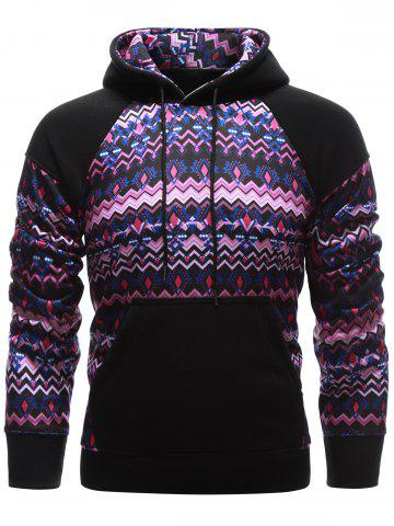 New Tribal Print Kangaroo Pocket Raglan Sleeve Hoodie BLACK XL