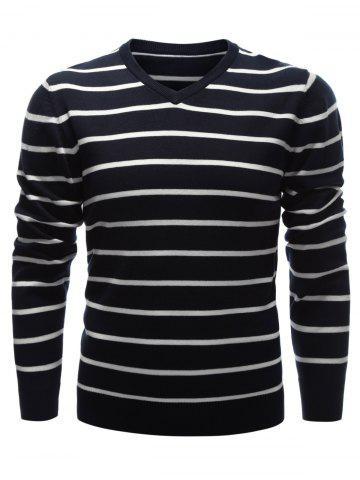 Discount V Neck Contrast Striped Sweater