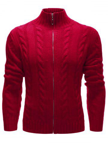 Buy High Neck Zip Up Twist Knit Cardigan RED XL