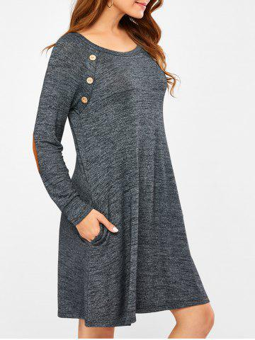 Online Elbow Patch Long Sleeve Dress