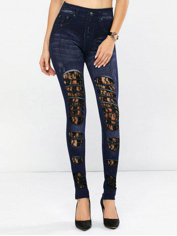 Shops Lace Panel Distressed Jeggings