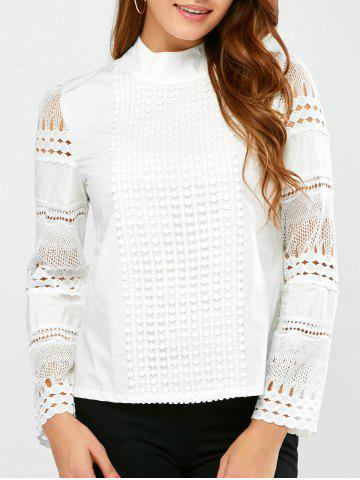 Lace Insert Crochet Blouse - White - M
