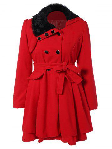 Online Fur Collar Fitted Pea Coat RED XL