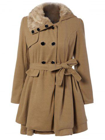 Fur Collar Fitted Pea Coat - Khaki - L