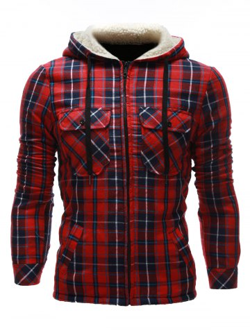 Outfit Flocking Hooded Pocket Zip Up Plaid Jacket RED XL