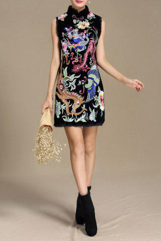 Online Stand Collar Floral Embroidered Dress