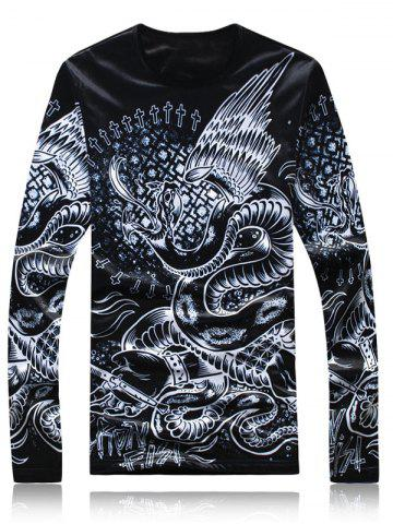 Outfits Long Sleeve 3D Animal Printed Flocking T-Shirt