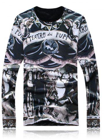 Discount Long Sleeve Flocking Graphic T-Shirt