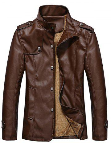 Stand Collar Button Up Epaulet PU Leather Jacket - Brown - 3xl