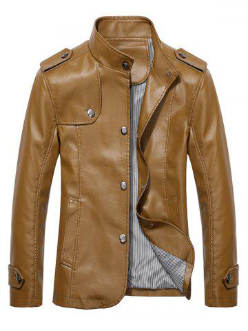 New Button Up Stand Collar Epaulet PU Leather Jacket