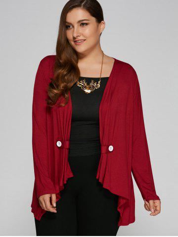 Plus Size Button Embellished Asymmetrical Cardigan - Burgundy - 2xl