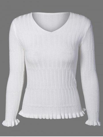 Affordable V Neck  Ruffle Ribbed Sweater