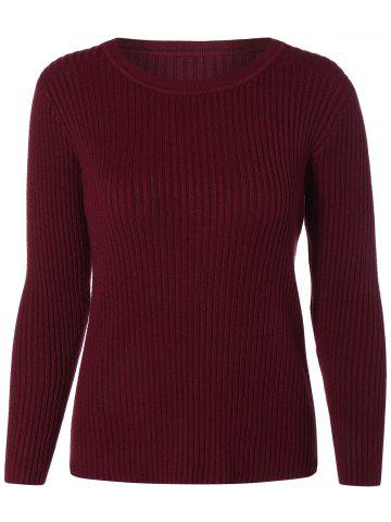 Fashion Crew Neck Knit Ribbed Sweater