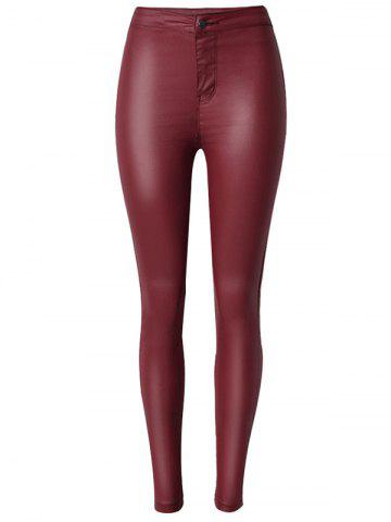 Faux Leather High Waist Skinny Pants - Wine Red - Xl