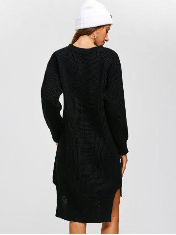 Best High Low Long Sleeve Sweater Dress - ONE SIZE BLACK Mobile