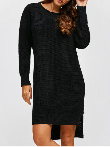 Store High Low Long Sleeve Sweater Dress BLACK ONE SIZE