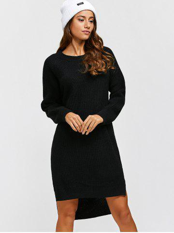 Buy High Low Long Sleeve Sweater Dress - ONE SIZE BLACK Mobile