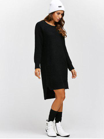 Cheap High Low Long Sleeve Sweater Dress - ONE SIZE BLACK Mobile