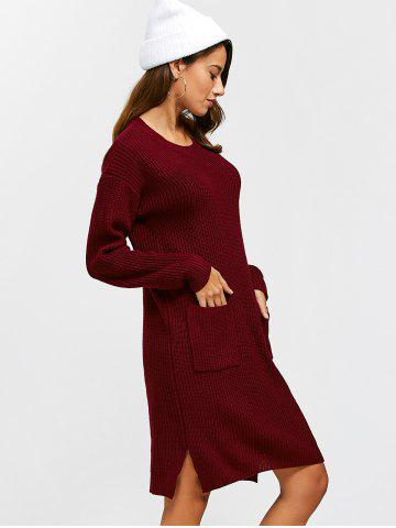 Hot Double Pockets Pullover Sweater Dress - L WINE RED Mobile
