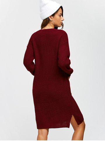 Best Double Pockets Pullover Sweater Dress - L WINE RED Mobile