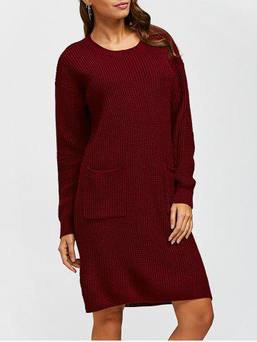 Buy Double Pockets Pullover Sweater Dress WINE RED L