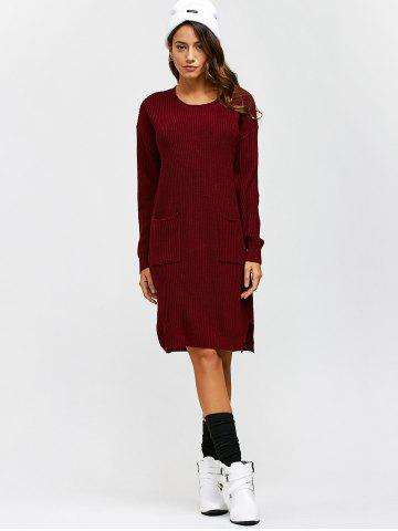 Cheap Double Pockets Pullover Sweater Dress - L WINE RED Mobile