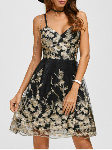 Hot Spaghetti Strap Embroidery Skater Cocktail Dress BLACK L