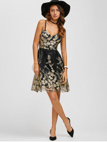 Outfits Spaghetti Strap Embroidery Skater Cocktail Dress - M BLACK Mobile