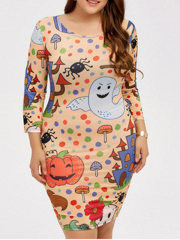 Online Halloween Cartoon Print Bodycon Dress COLORMIX 5XL