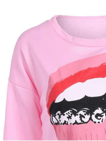 Outfit Mouth Print Loose Long Sleeve Pullover Crop Top - L PINK Mobile
