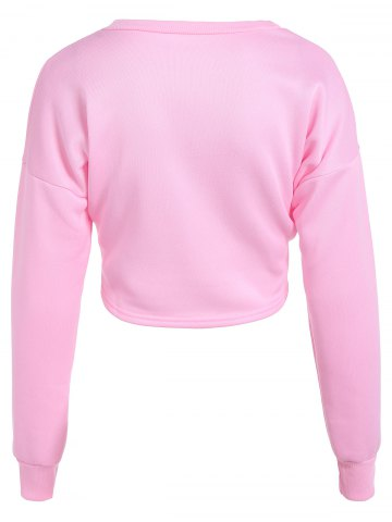 Shops Mouth Print Loose Long Sleeve Pullover Crop Top - L PINK Mobile