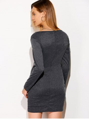 Outfit Criss Cross Band Long Sleeve Dress - L DEEP GRAY Mobile