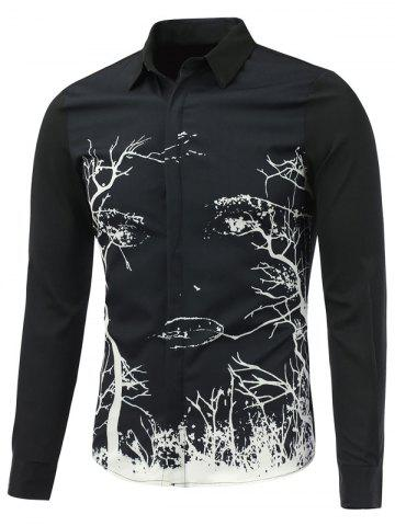 Chic Abstract Tree Printed Long Sleeve Button Shirt