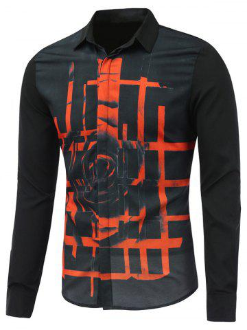 Fashion Abstract Rose Printed Long Sleeve Button Shirt - M BLACK Mobile