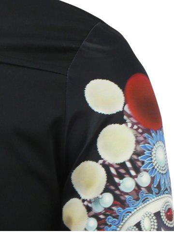New Chinese Opera 3D Printed Long Sleeve Shirt - 2XL BLACK Mobile
