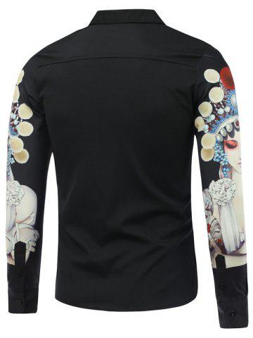 Outfits Chinese Opera 3D Printed Long Sleeve Shirt - 2XL BLACK Mobile