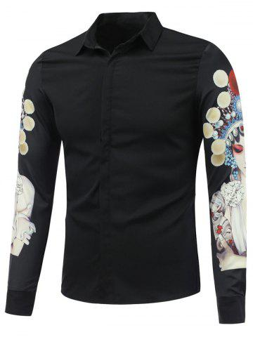 New Chinese Opera 3D Printed Long Sleeve Shirt - L BLACK Mobile
