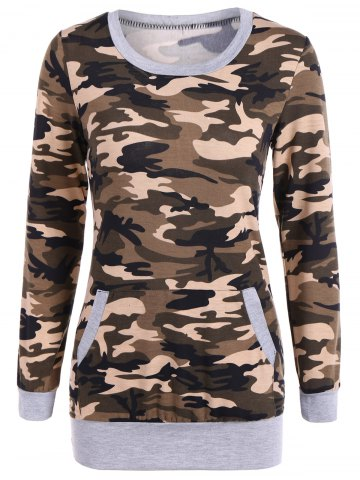 Affordable Camouflage Pattern Sweatshirt - M LIGHT GRAY Mobile