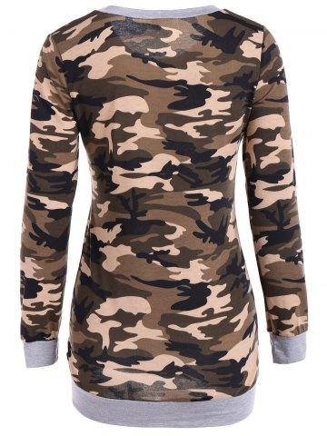 Trendy Camouflage Pattern Sweatshirt - S LIGHT GRAY Mobile