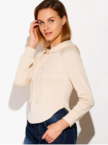 Chic Casual Circular Arc Hem Drawstring Hoodie - S LIGHT BEIGE Mobile
