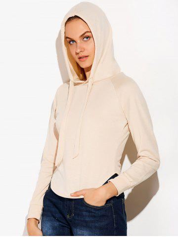 Unique Casual Circular Arc Hem Drawstring Hoodie - S LIGHT BEIGE Mobile