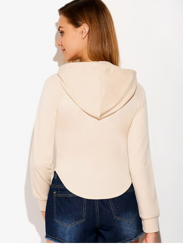 Latest Casual Circular Arc Hem Drawstring Hoodie - S LIGHT BEIGE Mobile