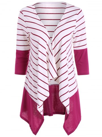 Affordable Stripe Drape Cardigan - M WHITE Mobile